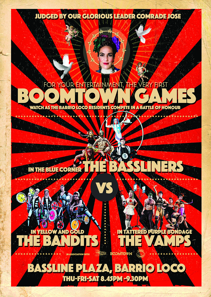 Boomtown Games - Commissioned by Boomtown Fair with support from Arts Council EnglandLarge scale, outdoor multi artform extraviganza featuring aerial, ground and wheel based battles staring Mc Eva Lazarus and the Afronauts.