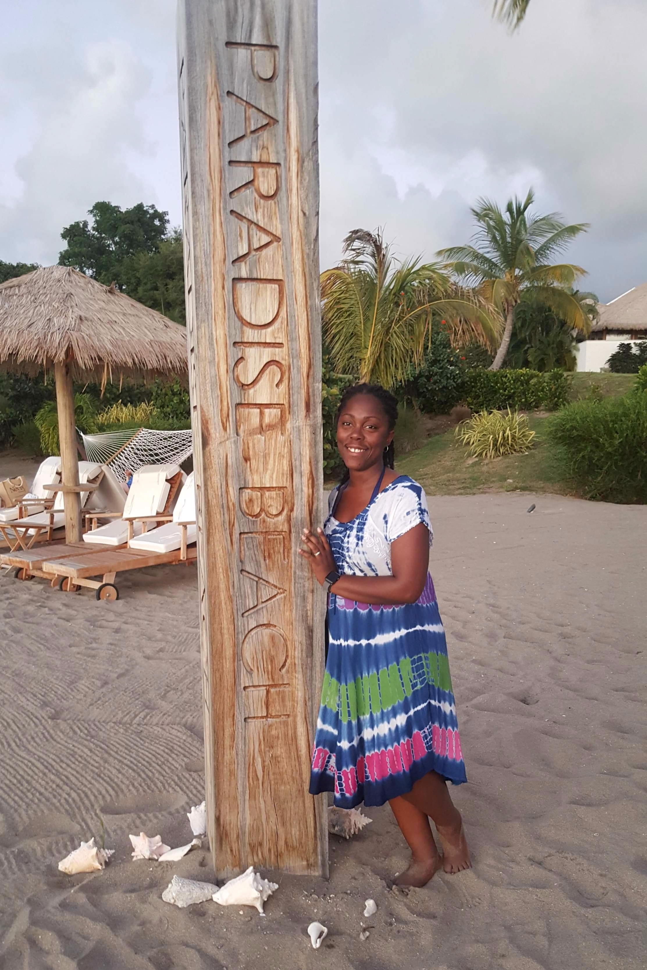 Jackie at Paradise Beach in Nevis (sister island to St. Kitts)