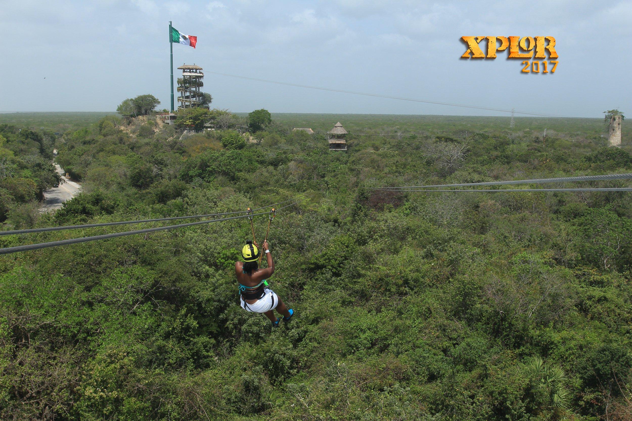 Ziplining at Xplor Park in Riviera Maya