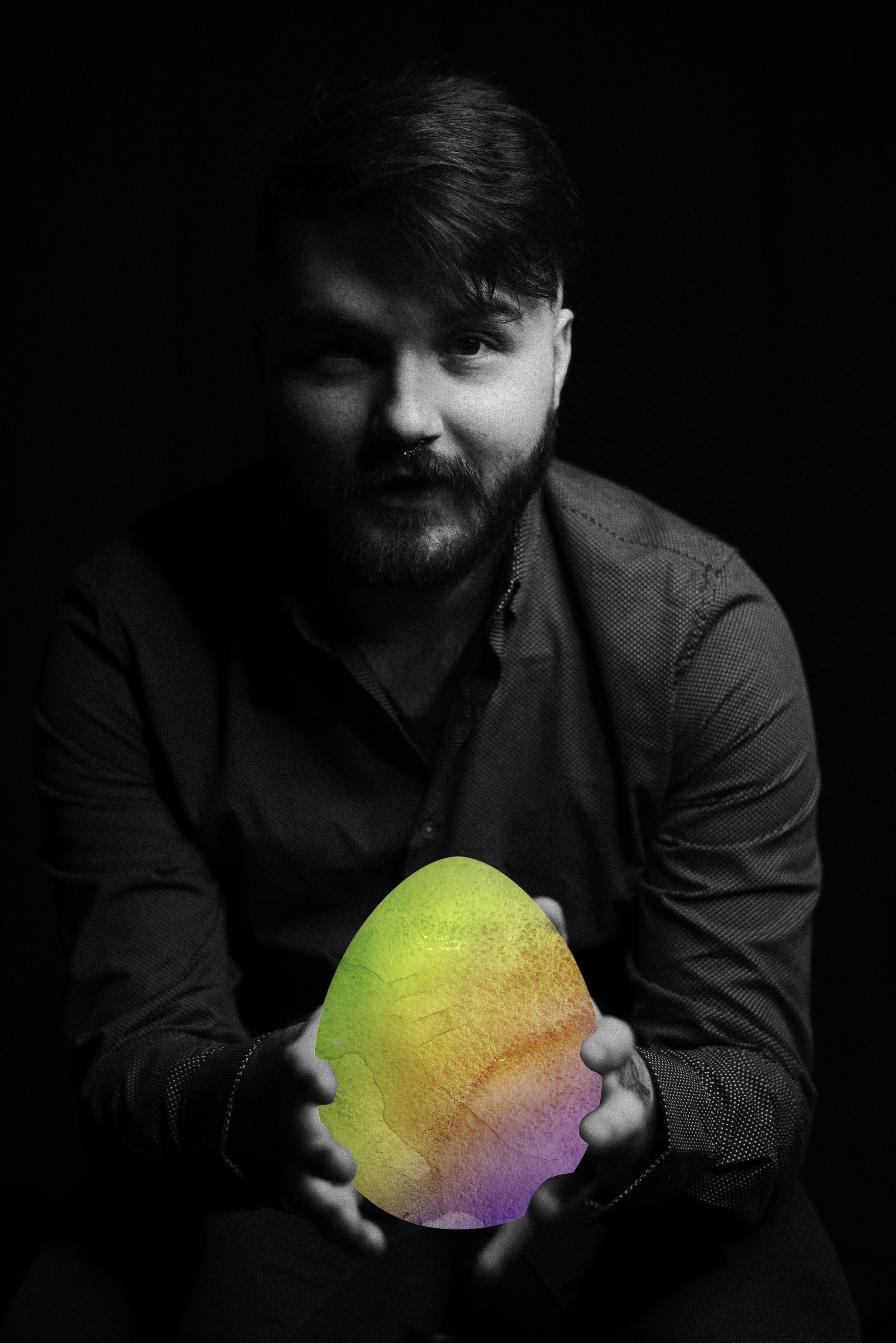 Wade Shaw holding an Easter Egg