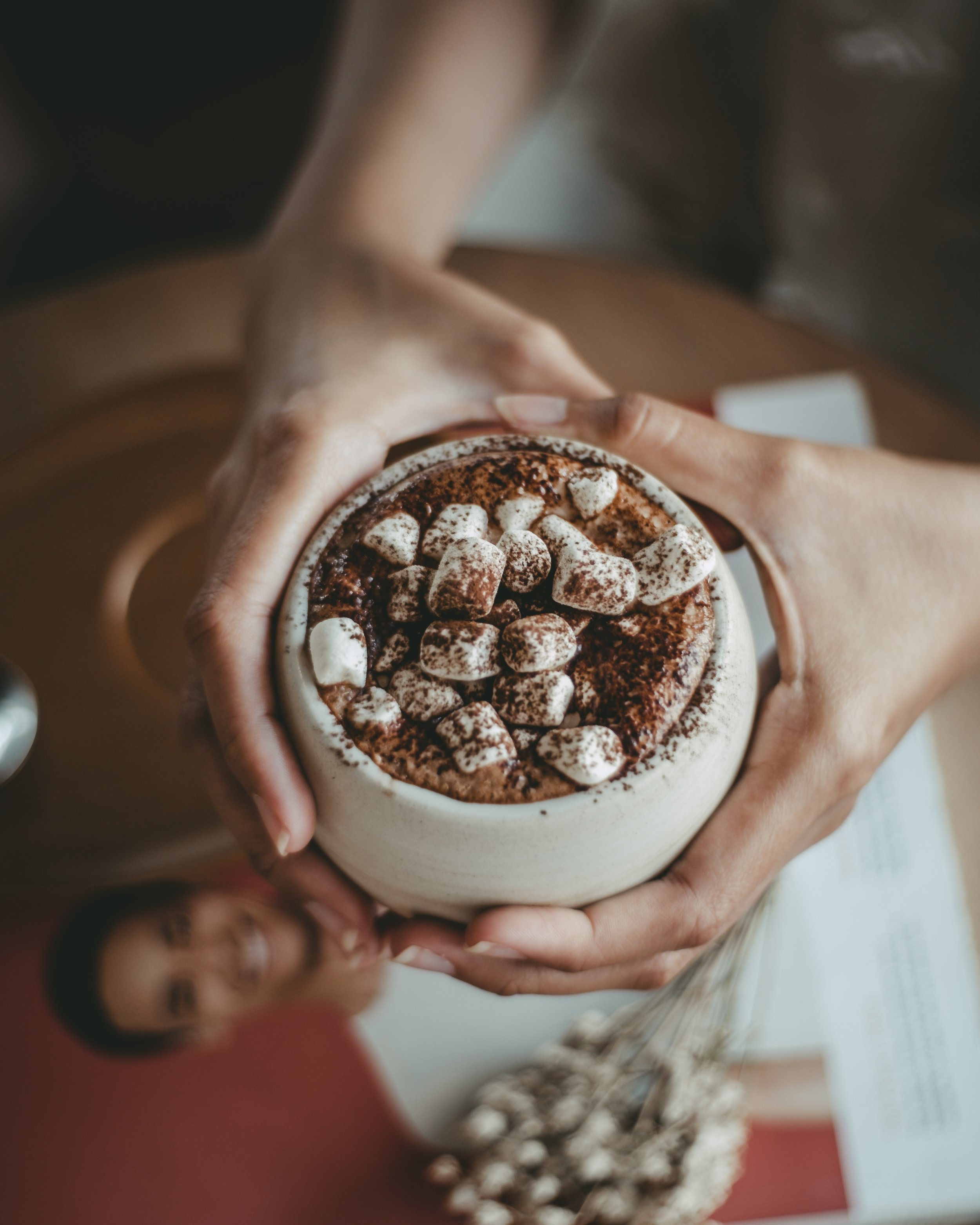 Hot Chocolate Bar   Let's grab the marshmallows, whipped cream, chocolate syrup, candy, nuts, and have a fun hot chocolate bar fit for any age!
