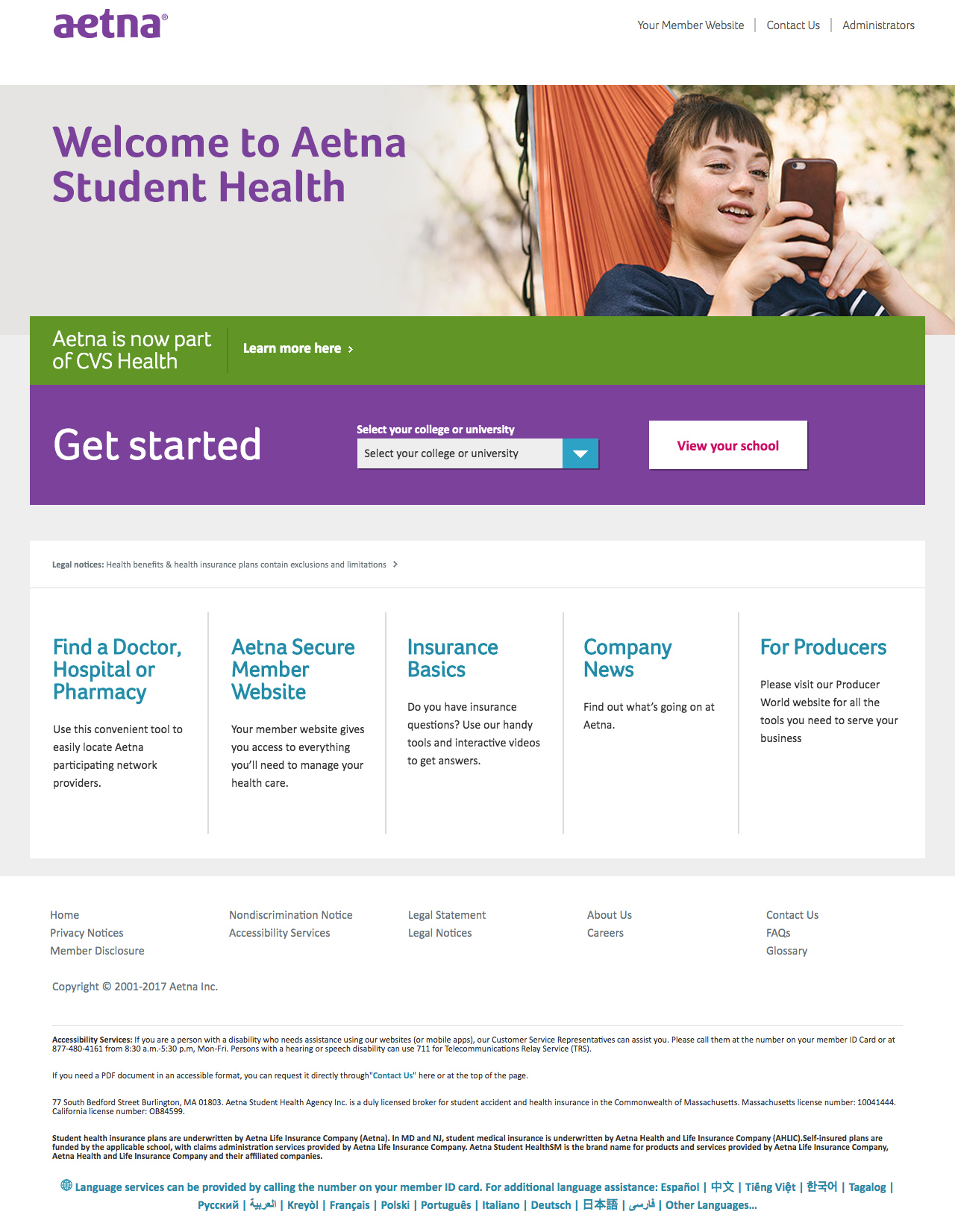 Aetna Student Health pages