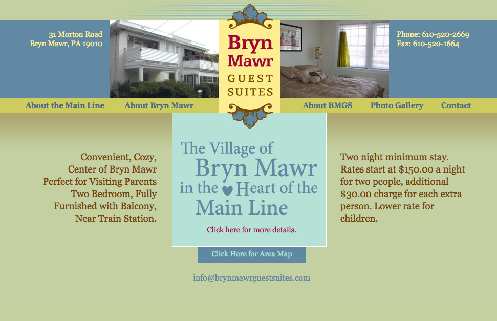 Bryn Mawr Guest Suites site pages