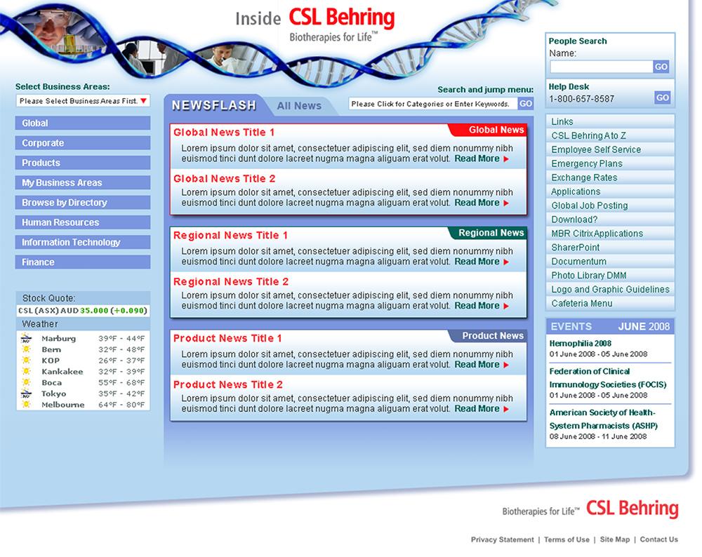 CSL Behring site designs