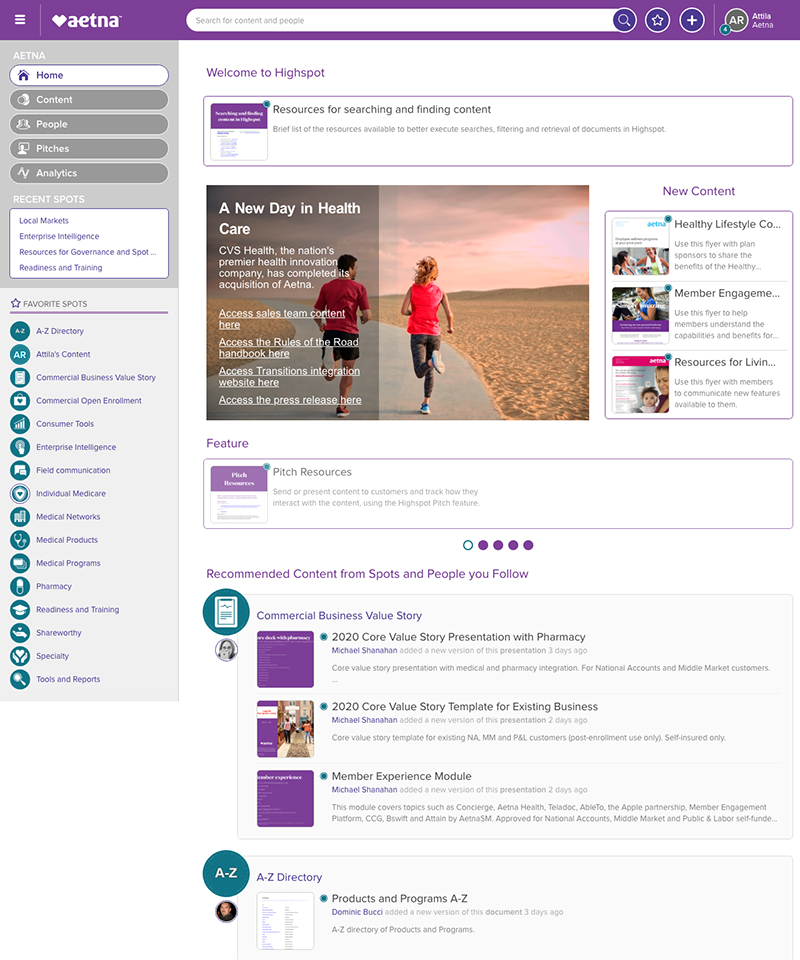Aetna sales support intranet pages