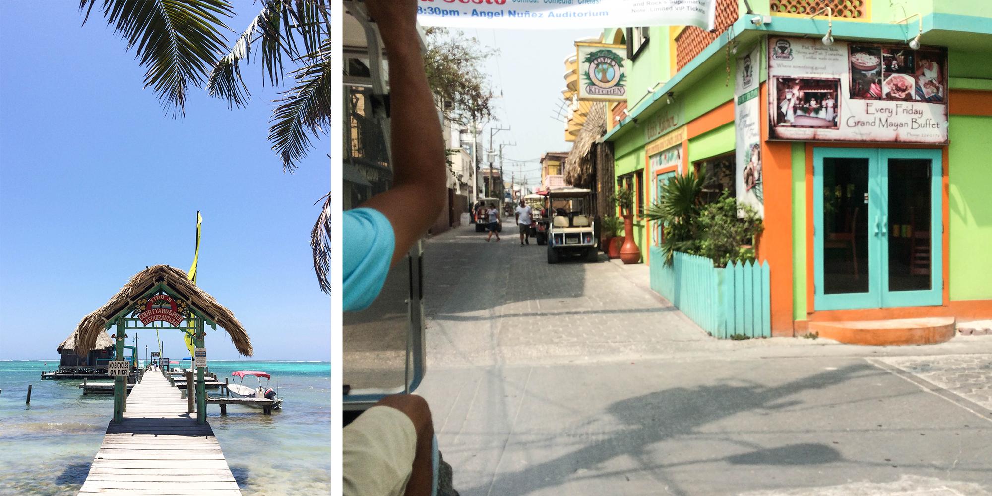 Above: San Pedro, Ambergris Caye via golf cart.