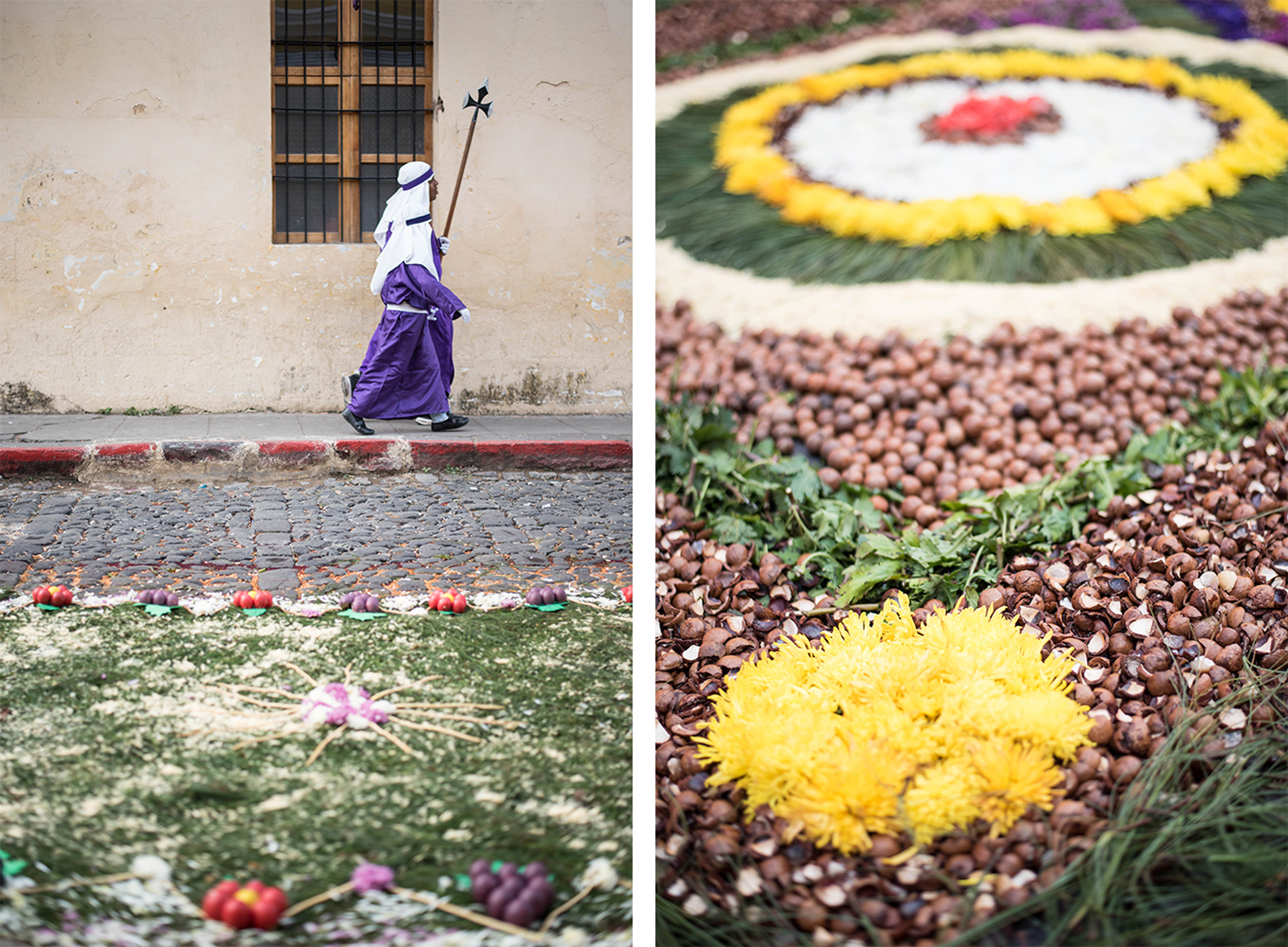 Alfombras are also still made in the old way, using pine needles, owers, nuts, shells, fruits, vegetables, herbs and other materials sourced from nature.