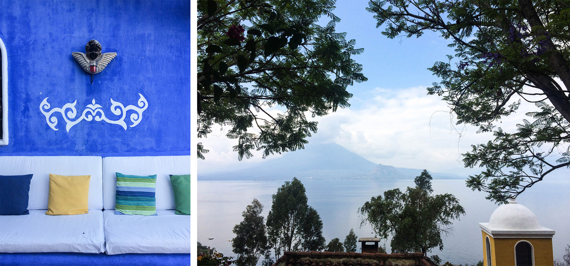 Beautiful Lake Atitlan, surrounded by three volcanoes and dotted with twelve weaving villages. Always a source of inspiration and a continual learning place for age-old Mayan weaving, dying and design techniques.