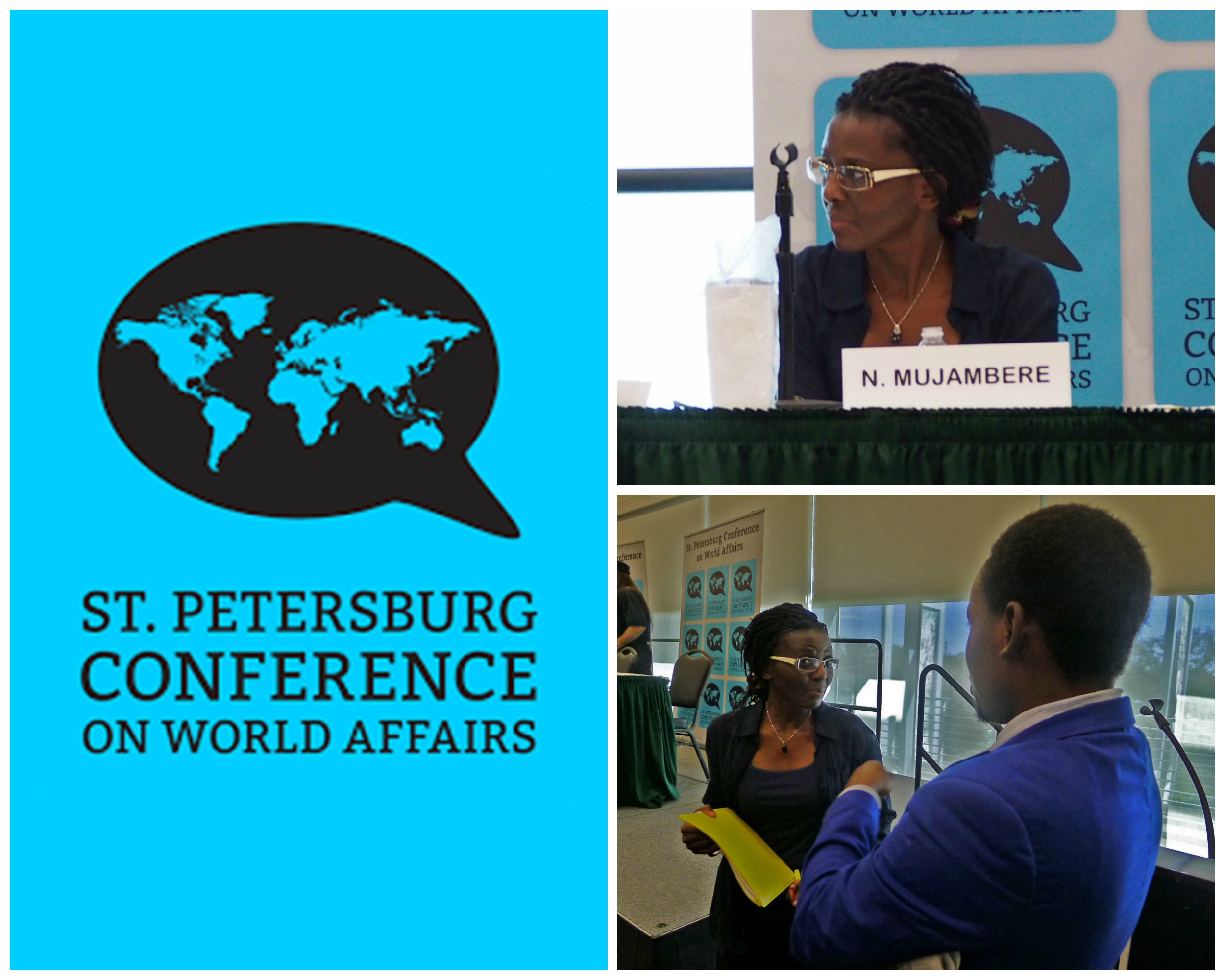 Nabintu Mujamberé speaks to the St. Petersburg, Fla., Conference on World Affairs.