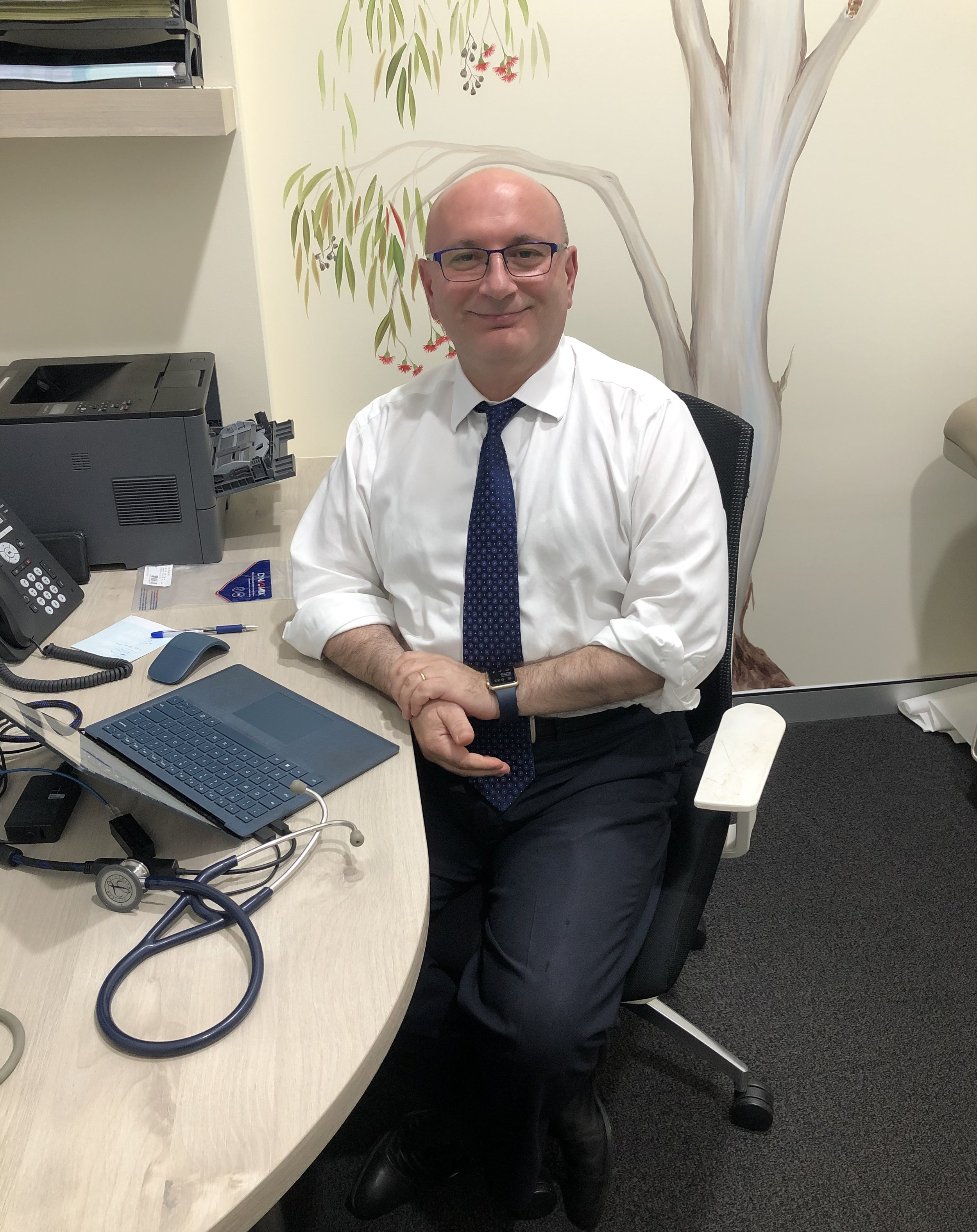 Dr Walid Jammal - MBBS FRACGP DCH M. Health LawClinical Lecturer University of SydneyConjoint Senior Lecturer, School of Medicine, Western Sydney UniversityDr Jammal started the practice with Madeline. His interests include paediatrics, men's health, ethics, health law, and quality and safety in health care. He also has a Masters of Health Law. He has a keen interest in health economics and models of care in general practice, including the Patient Centred Medical Home framework. He sits on various MBS review committees, is a member of the evaluation subcommittee of the Medicare Services Advisory Committee and sits on review committees for Therapeutic Guidelines. He is National Clinical Champion for Health Care Homes. He was RACGP NSW GP of year in 2017.