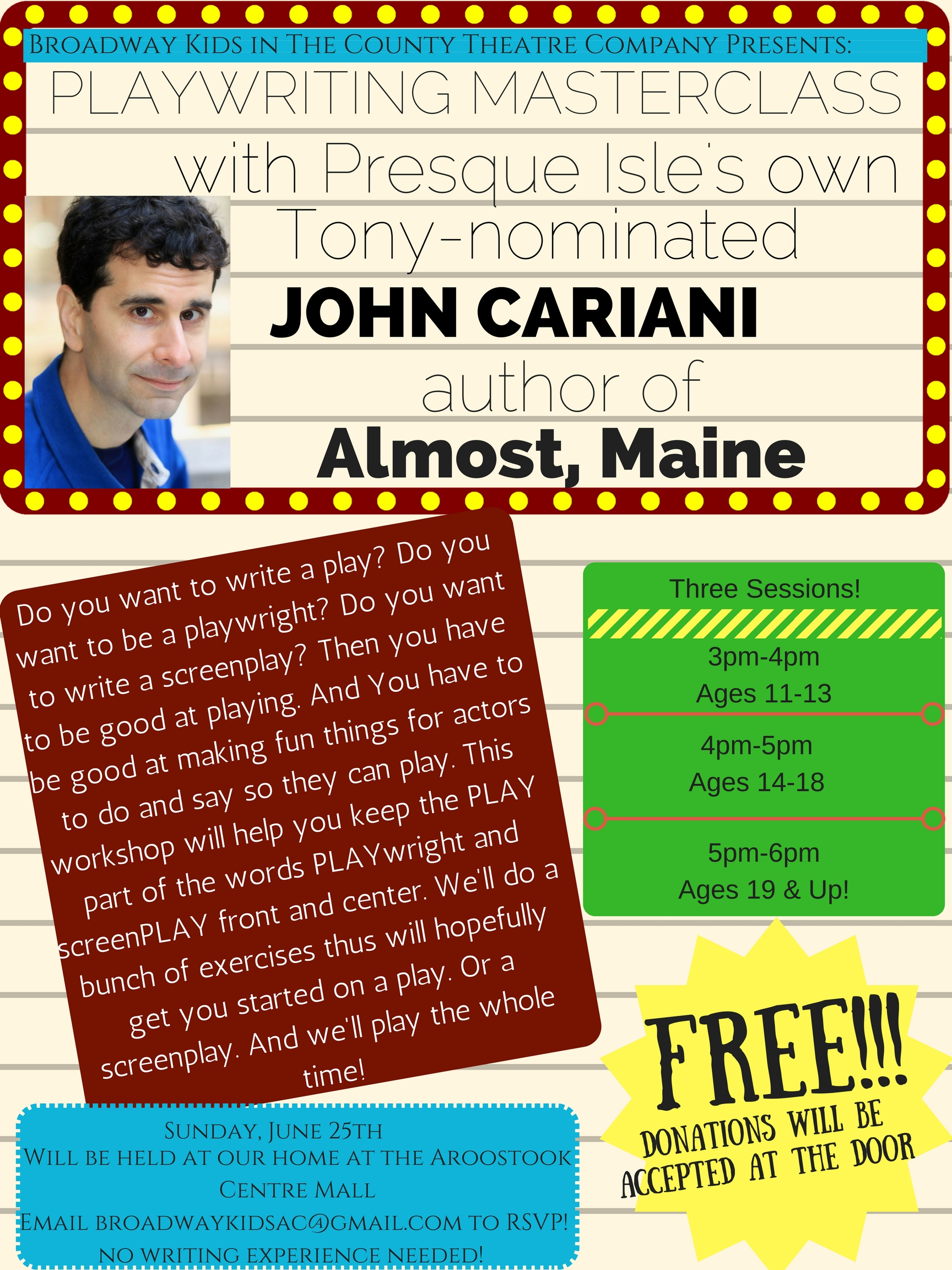 Playwriting Masterclass with John Cariani - John Cariani presented a playwright masterclass for free to interested students from ages 11 and up.Click here for photos from the event!