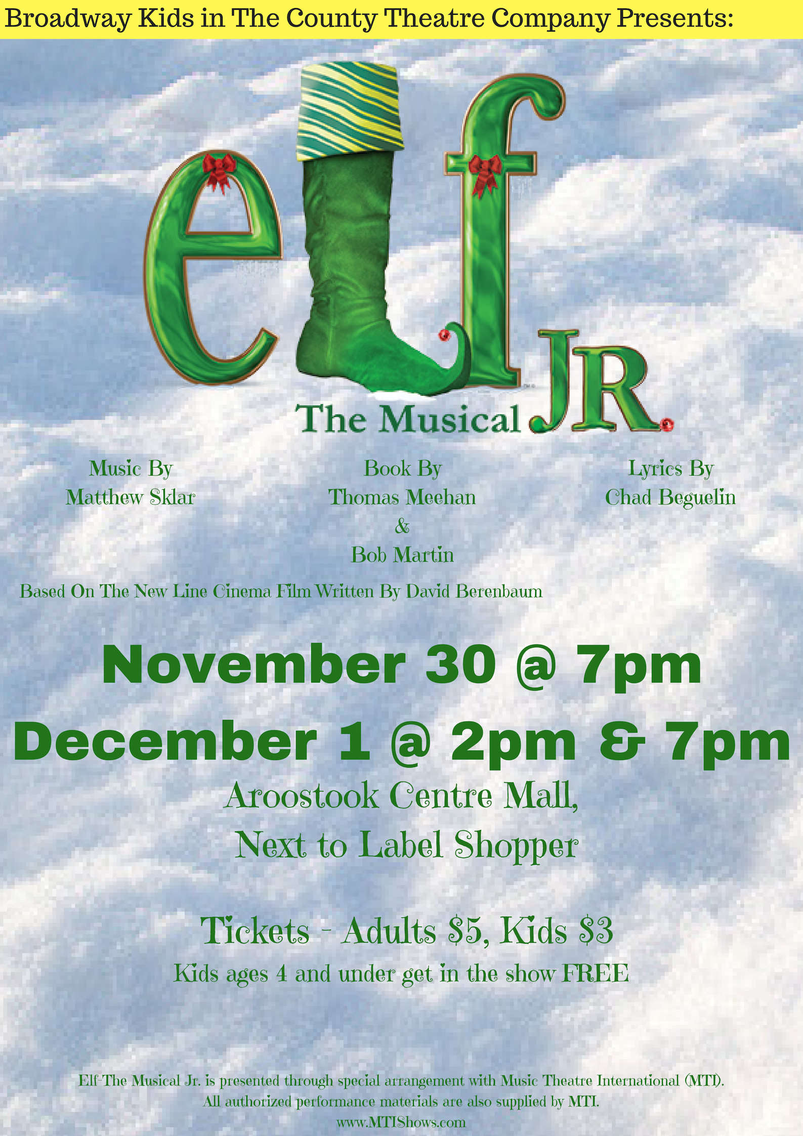 Elf Junior the Musical - A title known the world over, Elf The Musical JR. is a must-produce holiday musical that can easily become an annual tradition for any theatre. Based on the cherished New Line Cinema hit, Elf JR. features songs by Tony Award-nominees, Matthew Sklar and Chad Beguelin, with a book by Tony Award-winners, Thomas Meehan and Bob Martin.Buddy, a young orphan, mistakenly crawls into Santa's bag of gifts and is transported to the North Pole. The would-be elf is raised, unaware that he is actually a human, until his enormous size and poor toy-making abilities cause him to face the truth. With Santa's permission, Buddy embarks on a journey to New York City to find his birth father and discover his true identity. Faced with the harsh reality that his father is on the naughty list and that his half-brother doesn't even believe in Santa, Buddy is determined to win over his new family and help New York remember the true meaning of Christmas.This modern-day holiday classic is sure to make every young performer embrace his or her