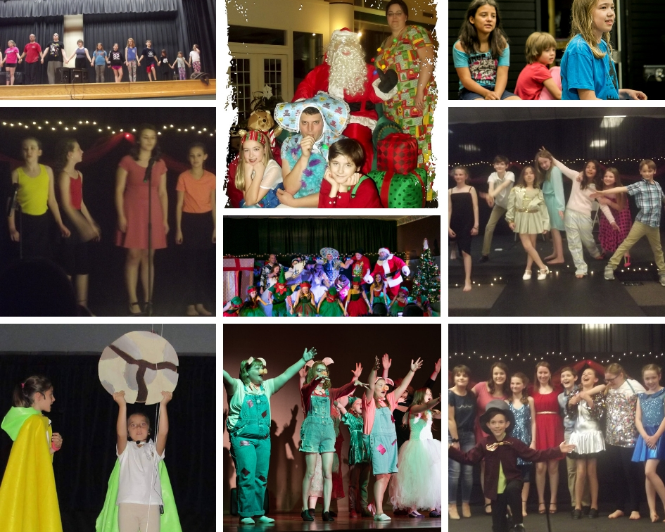"""SHREK TE MUSICAL DANCE REHEARSAL, KOOKY CHRISTMAS """"FAMILY PHOTO"""", GIANTS IN THE SKY REHEARSAL, BROADWAY REVUE: OVERUSED SONGS, KOOKY CHRISTMAS COMPANY BOW, AFTER SCHOOL THEATRE PROGRAM: THE CAROL BURNETT SHOW, GIANTS IN THE SKY, SHREK THE MUSICAL AND BROADWAY REVUE: SONGS TO INSPIRE"""