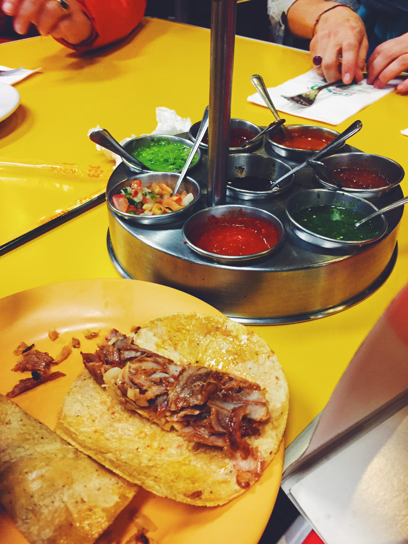 Al Pastor taco and salsa at El Huequito