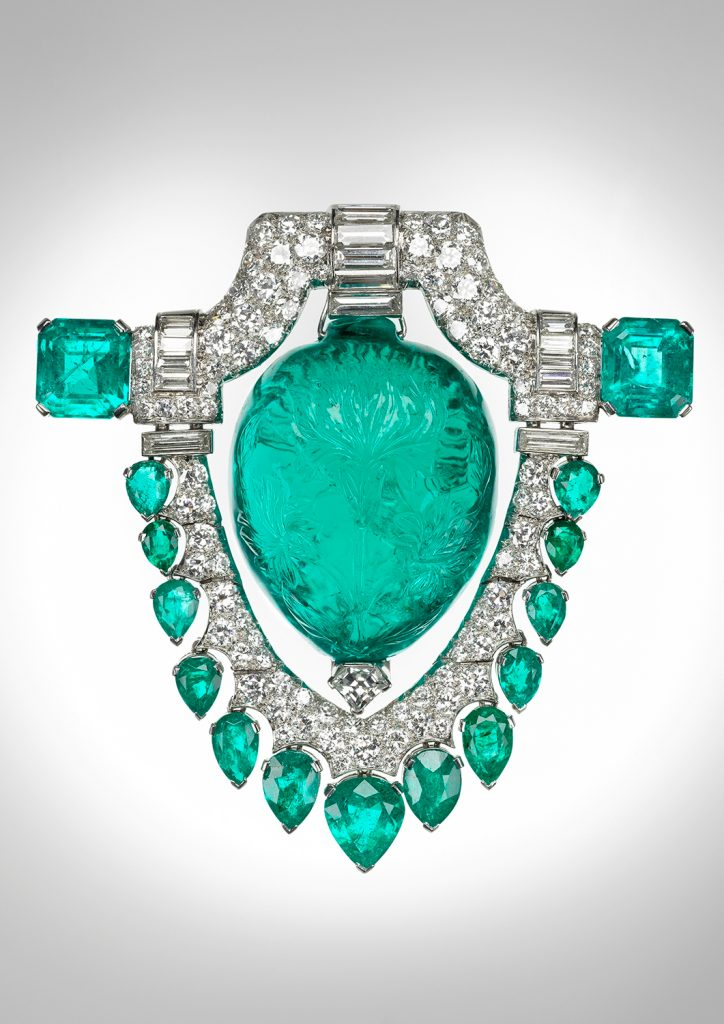 Emerald and Diamond brooch - sample for setting details