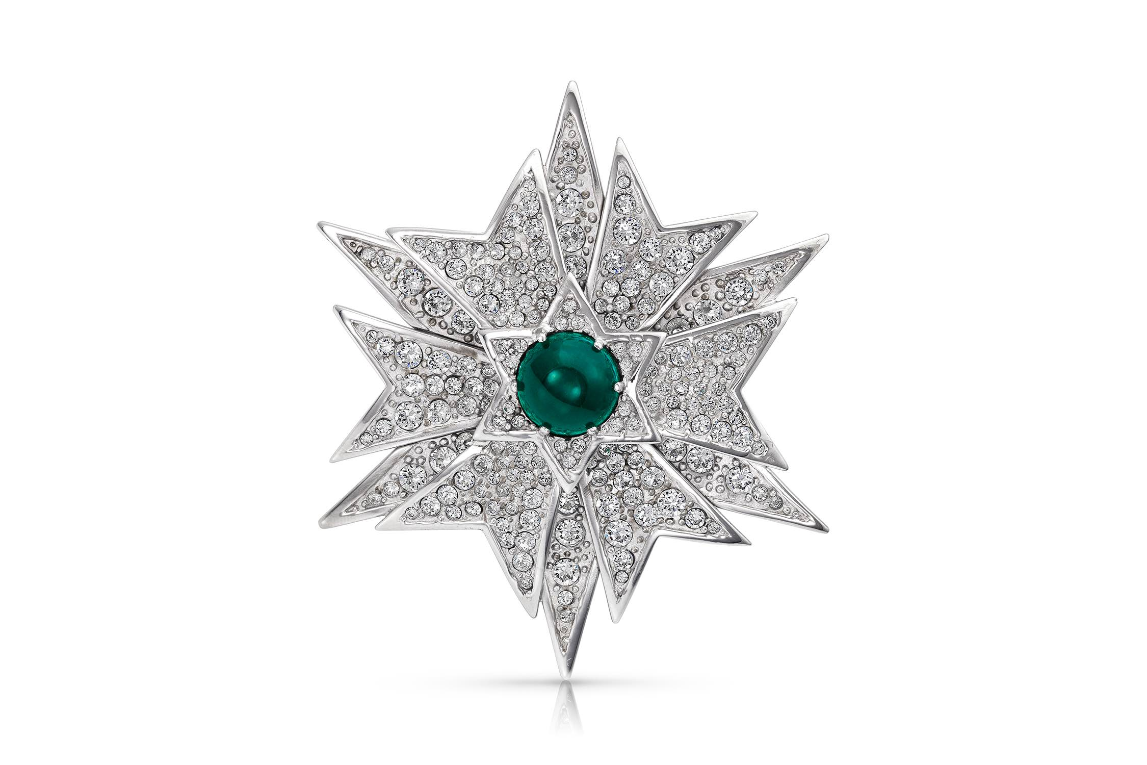 Re-created emerald and diamond brooch worn in the film classic Valley of the Dolls