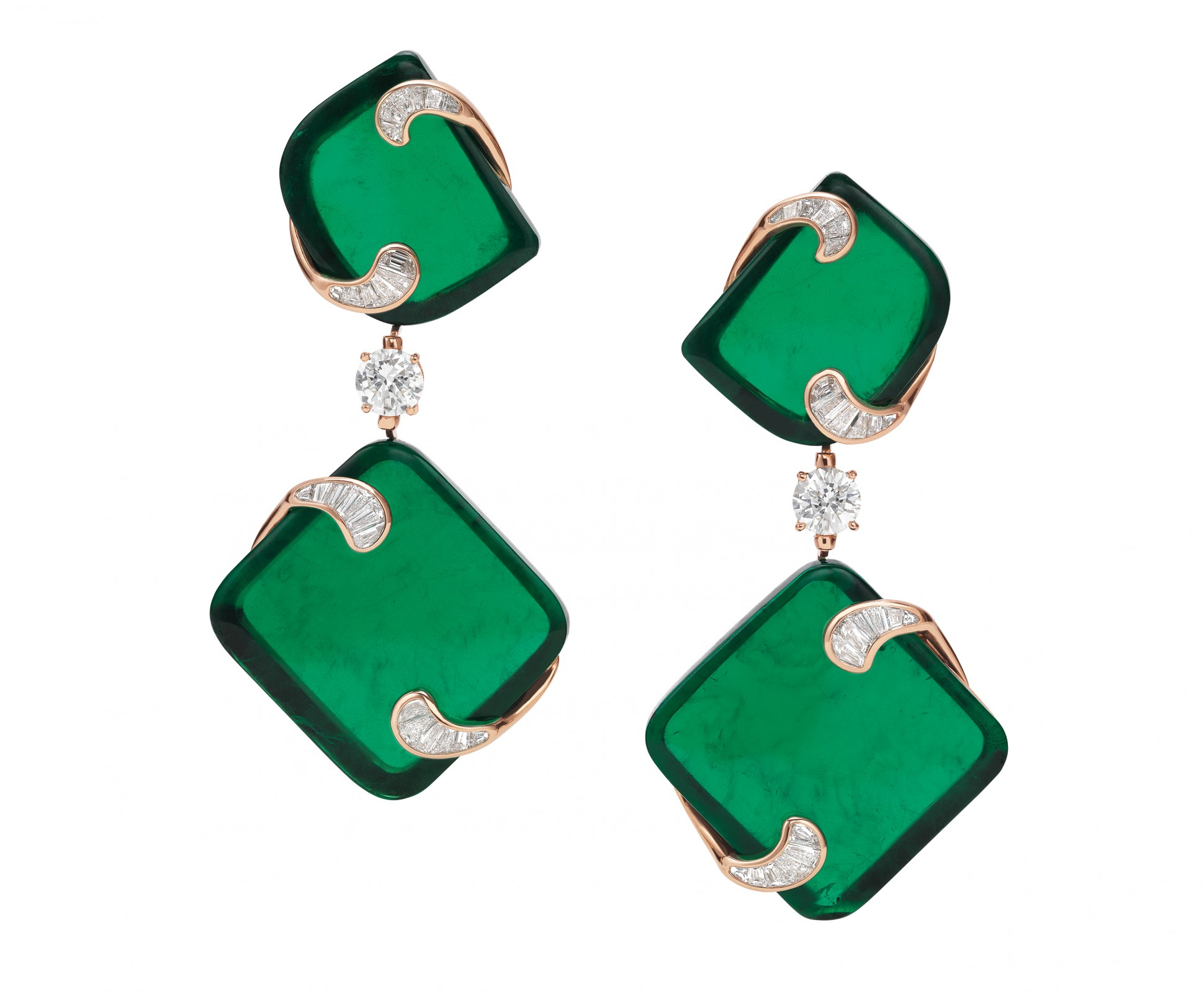 "The ""Hidden Treasures"" earrings, inspired by the geometric designs of sculpted evergreens, consist of two fancy cut Zambian emeralds for each jewel. The four stones together weigh 143.1 carats. They were extracted from a single 400-carat rough stone."