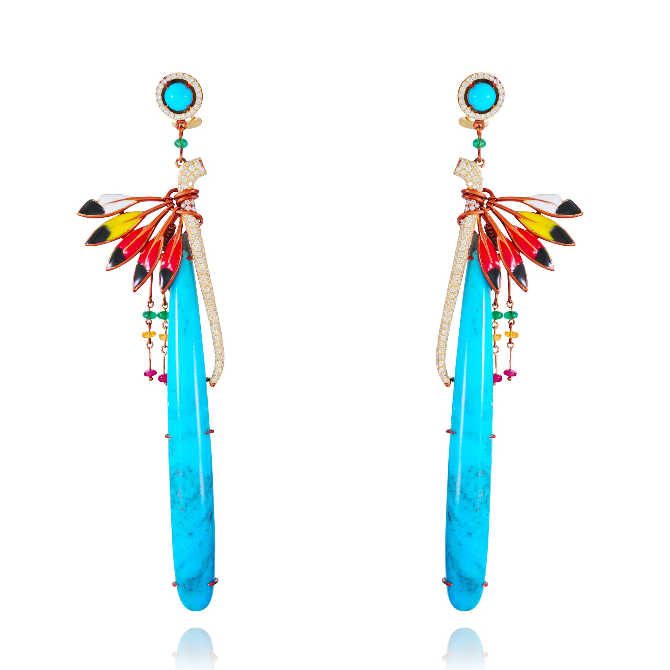 Lydia Courteille - rainbow warrior - turquoise peace pipe earrings