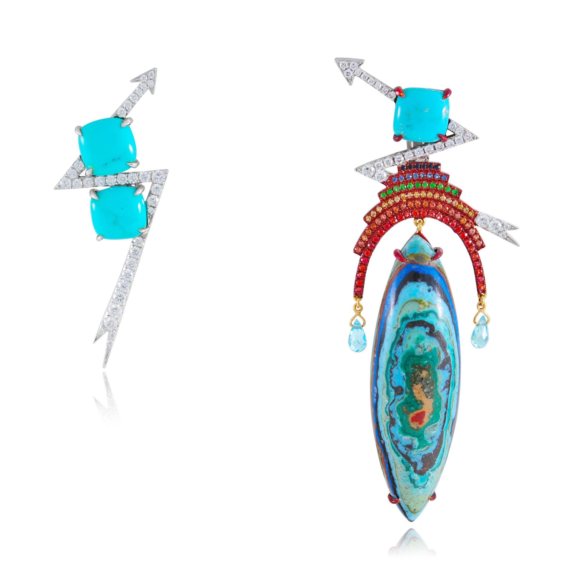Lydia Courteille - rainbow warrior sapphire tsavorite thunder earrings
