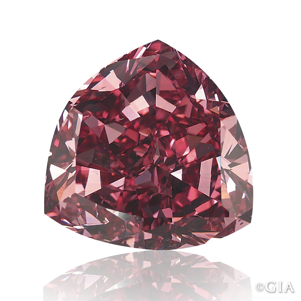 The 5.11 ct Fancy Moussiaf Red. Most other reddish diamonds are 'cooler' in appearance and termed purplish red. Courtesy of William Goldberg Diamond Corp.