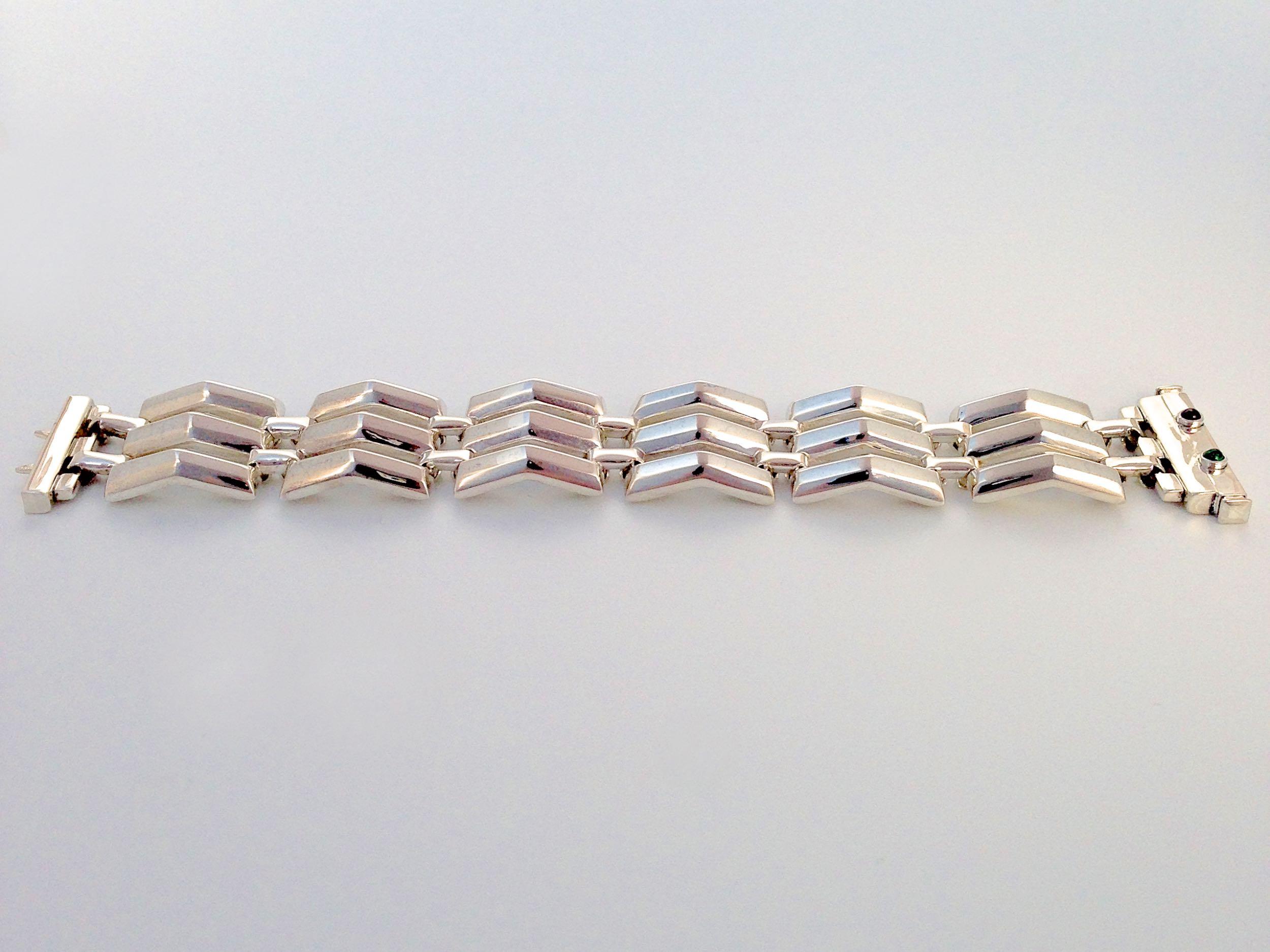 The finished bracelet - all sterling silver with bezel set gems