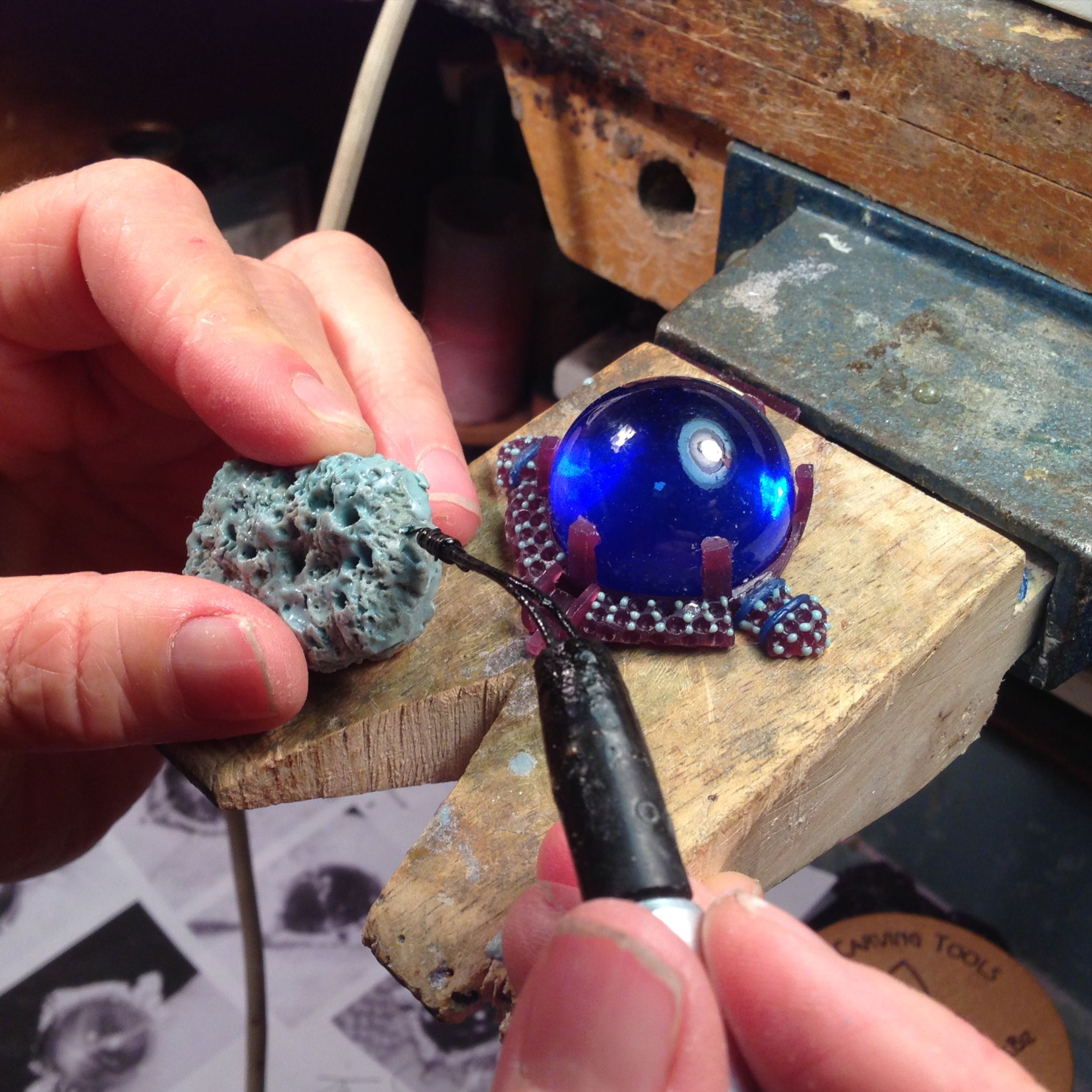 Step 2: Developing the model - shown here adding micro wax balls to model