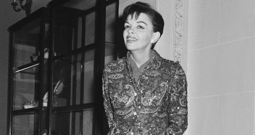 Judy Garland wearing the original beaded jumpsuit.