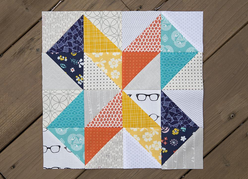 Geometric Slide Quilt Block from pattern in Vintage Quilt Revival : Fresh Lemons Quilts