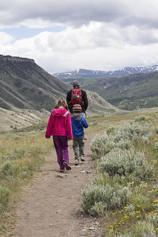 Hiking at Mammoth Hot Springs, Yellowstone National Park