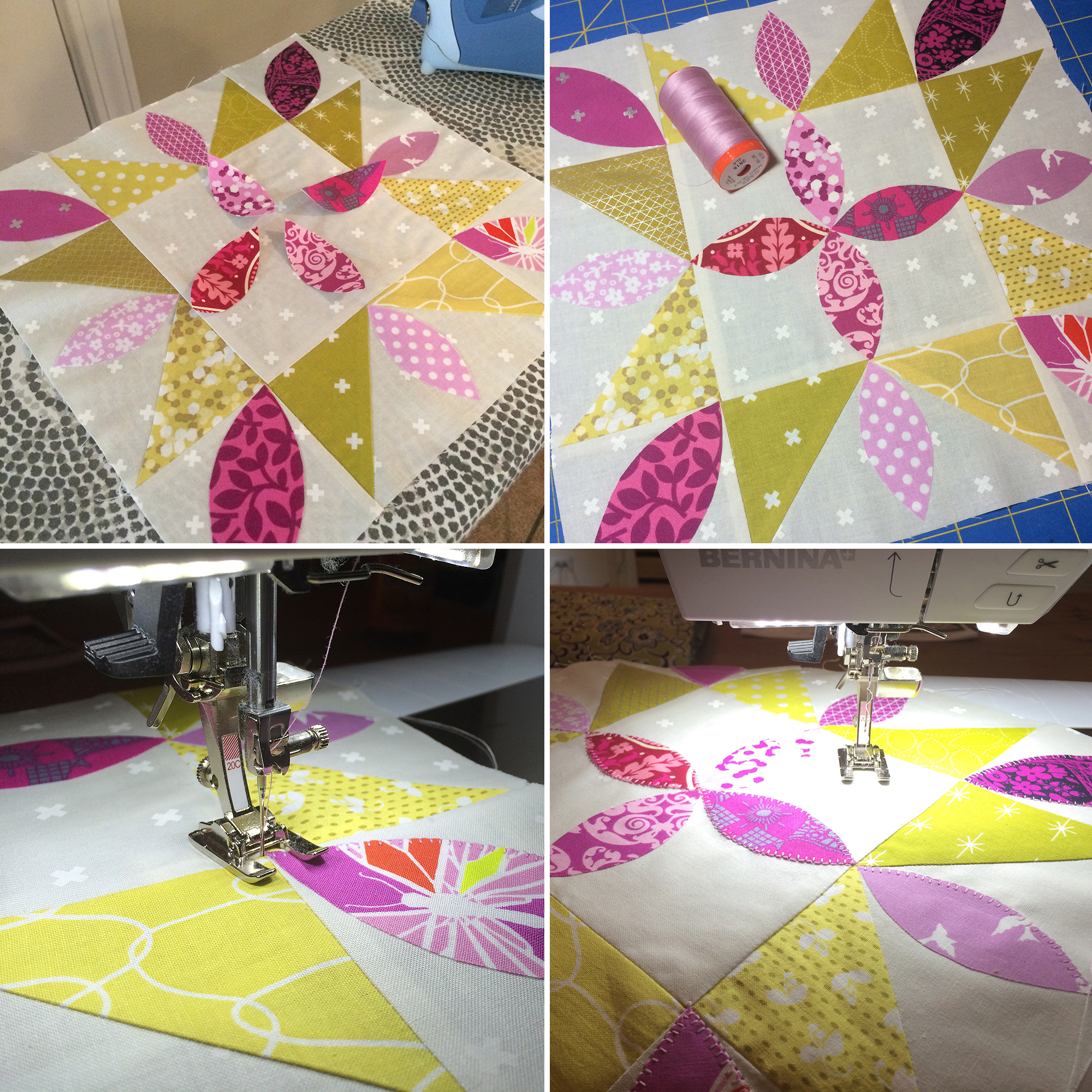 Playful Petals Starflower Mini Quilt: Fresh Lemons Quilts