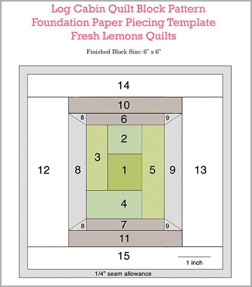 Log Cabin Spool Block Pattern : Fresh Lemons Quilts