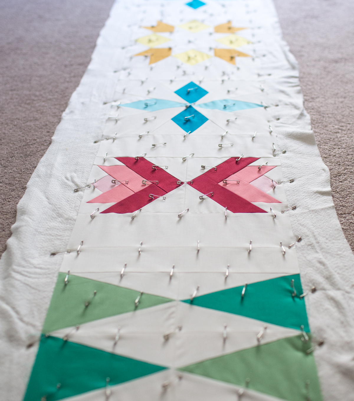 Sugarplum Table Runner Basting by Fresh Lemons Quilts