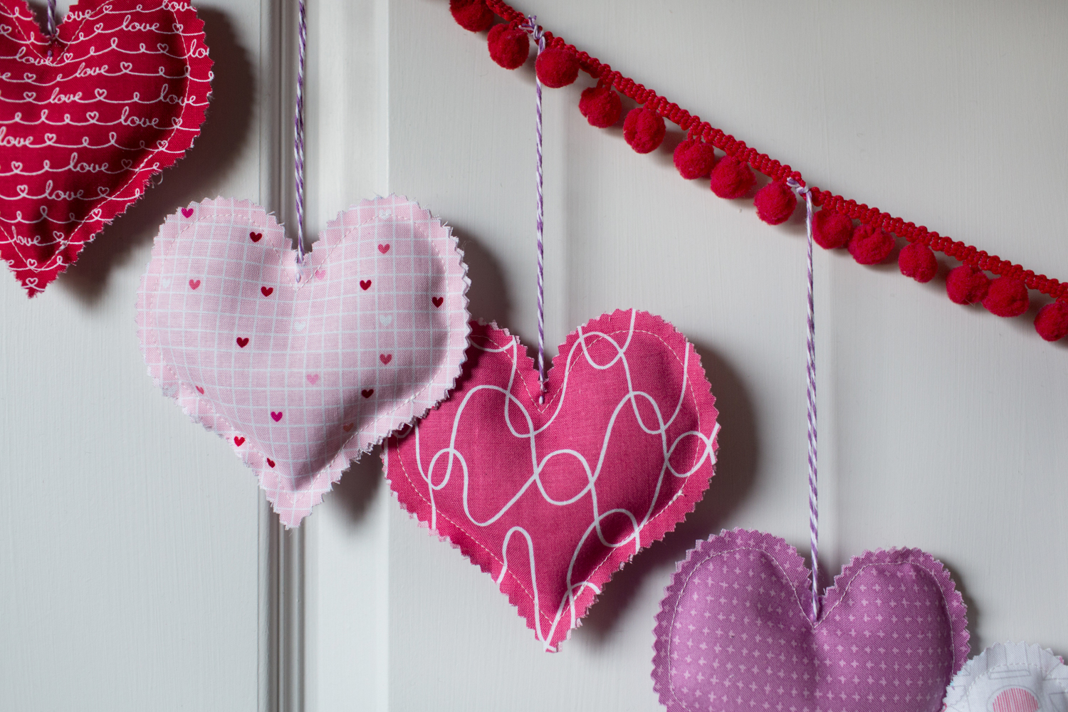 Lavender Sachet Heart Bunting Tutorial at We All Sew