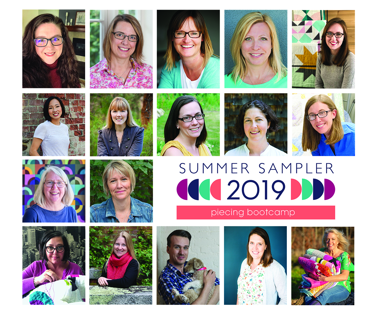 Row 1:  Heather Black  @Quiltachusetts,  Krista Hennebury  @poppyprint,  Lynne Goldsworthy  @lilysquilts,  Lee Heinrich  @lee.a.heinrich,  Krystina Hopkins  @khquilts  Row 2:  Andrea Tsang Jackson  @3rdstoryworkshop,  Jemima Flendt  @tiedwitharibbon,  Faith Jones  @freshlemonsquilts,  Kitty Wilkin  @nightquilter,  Yvonne Fuchs  @quiltingjetgirl  Row 3:  Lynn Carson Harris  @lynncarsonharris,  Stephanie Zacharer Ruyle  @spontaneousthreads  Row 4:  Jen Carlton Bailly  @bettycrockerass,  Amy Friend  @duringquiettime,  Justin Stafford  @keatonquilts,  Katie Blakesley  @swimbikequilt,  Jo Avery  @mybearpaw