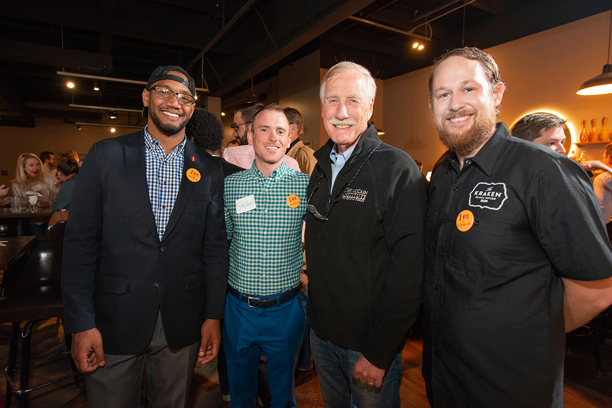 MSVA Board Members Omar Andrews, Stephen White, and Nick Wilson with US Senator Angus King at Bayside Bowl in Portland, Maine. Photo credit  Michele Stapleton.