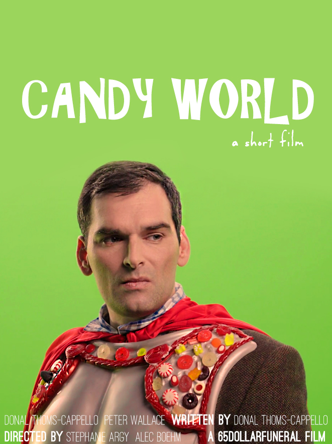 "candy world - writer, 2019 - ""Forests of licorice, mountains of gumdrops...trapped in a world of candy. Will movie star Rob Everfield be able to escape?""Short film. Directed by Stephanie Argy and Alec Boehm, Starring Donal Thoms-Cappello, Peter Wallace. Edited by Alec Boehm. Hair/Make-up Catelyn Chism. Filmed in Milwaukie, OR.This project first debuted as Candyland, Also Starring Rob Everfield, a short play, for the 2017 Pull Festival in Vancouver, British Columbia. Written by Donal Thoms-Cappello. Directed by Pedro Chamale. Starring Anthony Santiago, with Francis Dowlatabati. Performed at the Little Mountain Gallery in Vancouver, BC."
