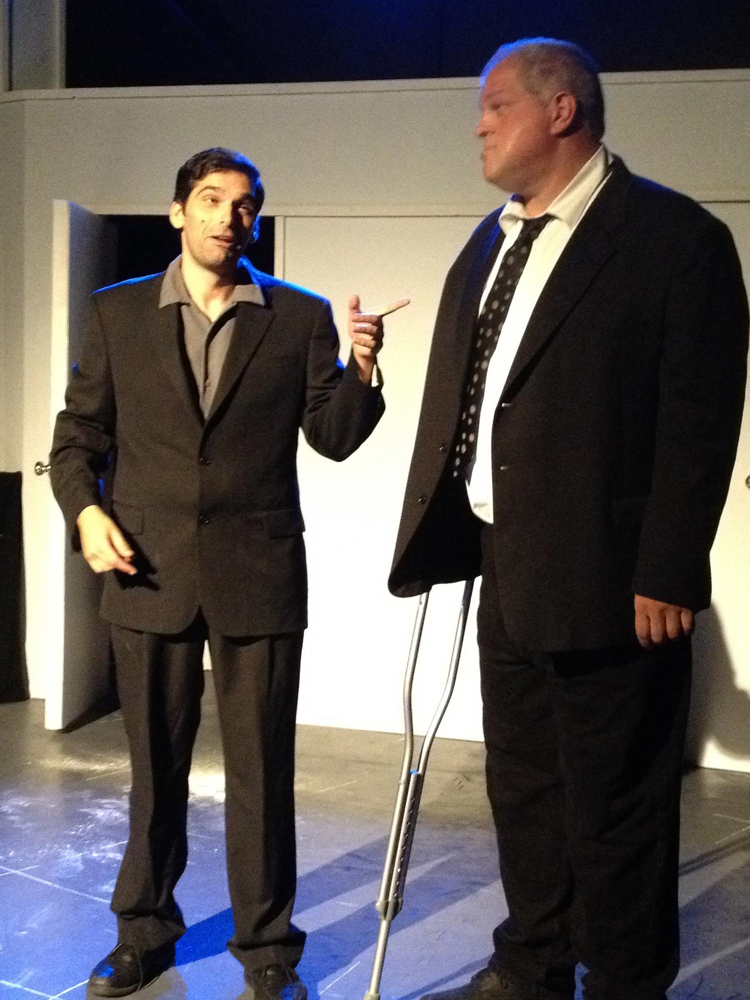 Trying out my Bobby DeNiro with Abraham Benrubi at Sacred Fools'  Serial Killers  midnight comedy show. (2014)