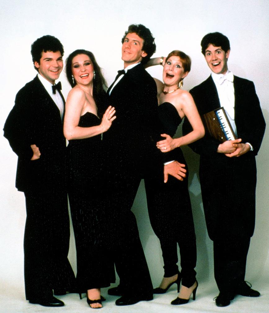 FORBIDDEN BROADWAY ORIGINAL CAST, 1982: Gerard Alessandrini, Nora Mae Lyng, Bill Carmichael, Chloe Webb, Fred Barton