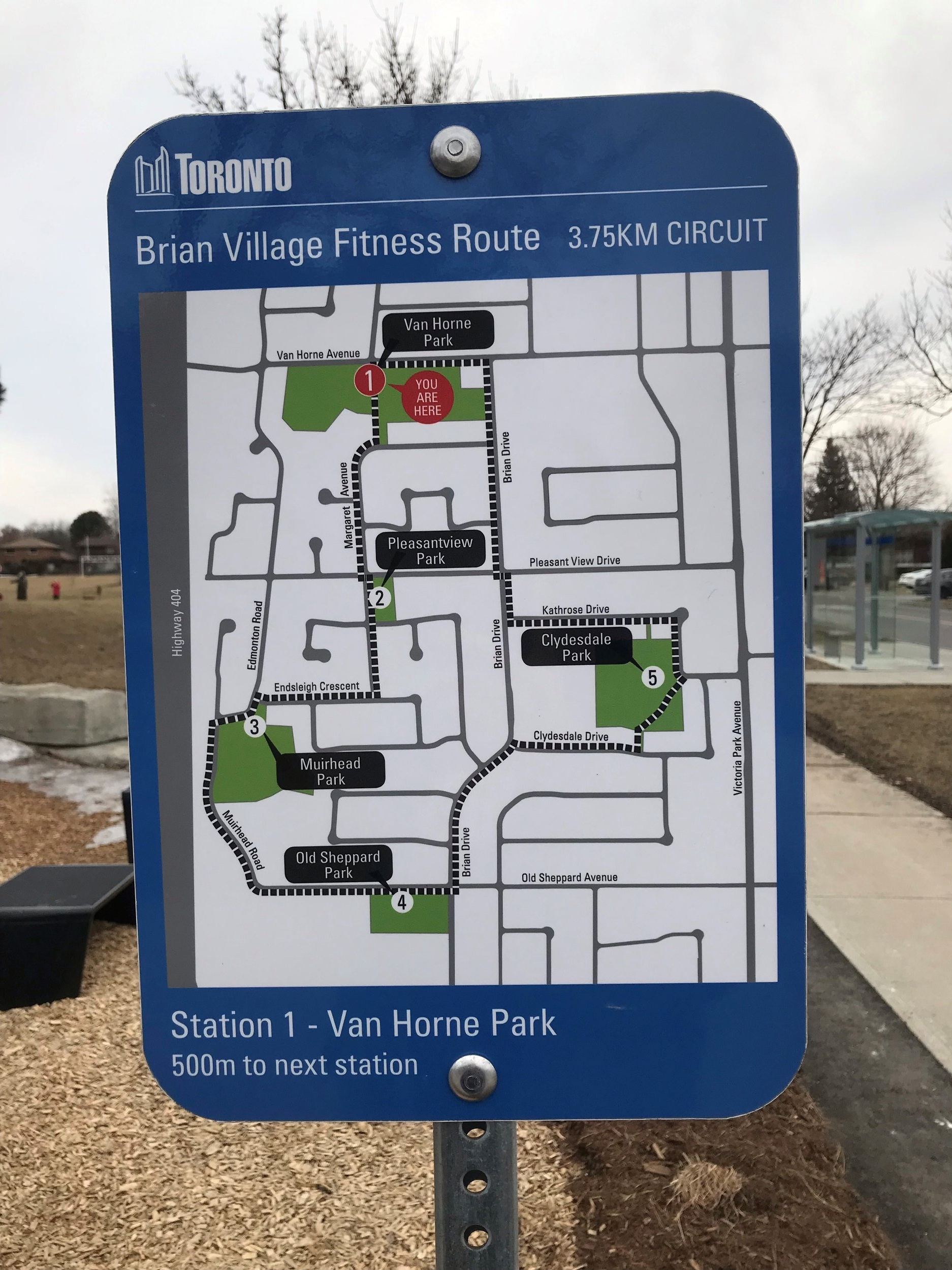 Map of the Brian Village Fitness Track