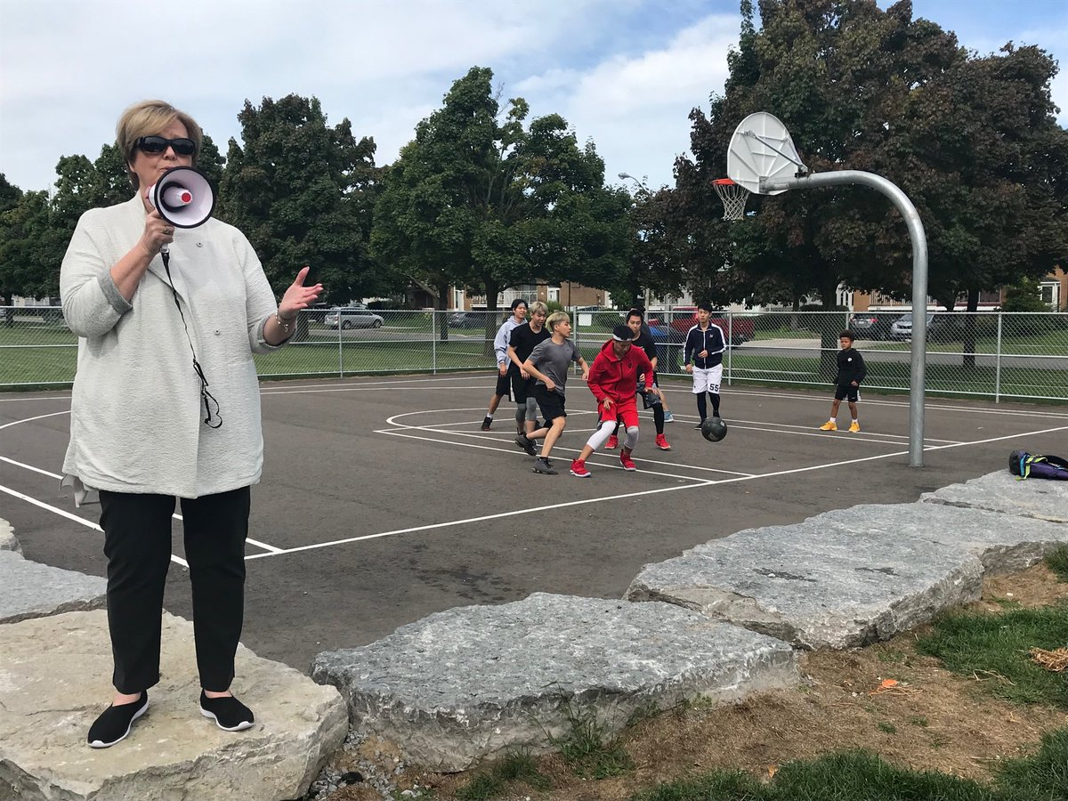 The very popular basketball court at Pleasantview Park was built as a result of PB