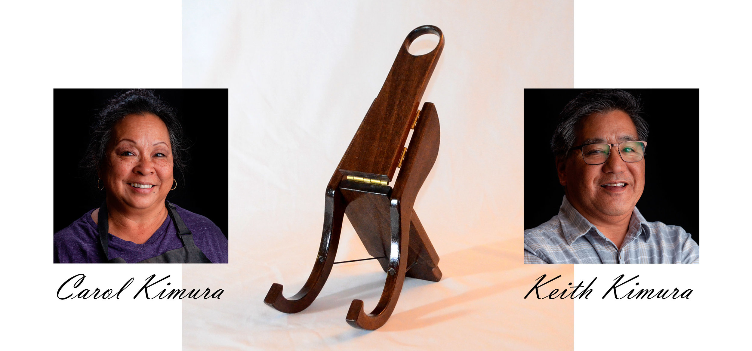 Carol & Keith Kimura, makers of K-Stand and the hand made Christmas present that started it all. (portrait photos courtesy Jesse Koester)