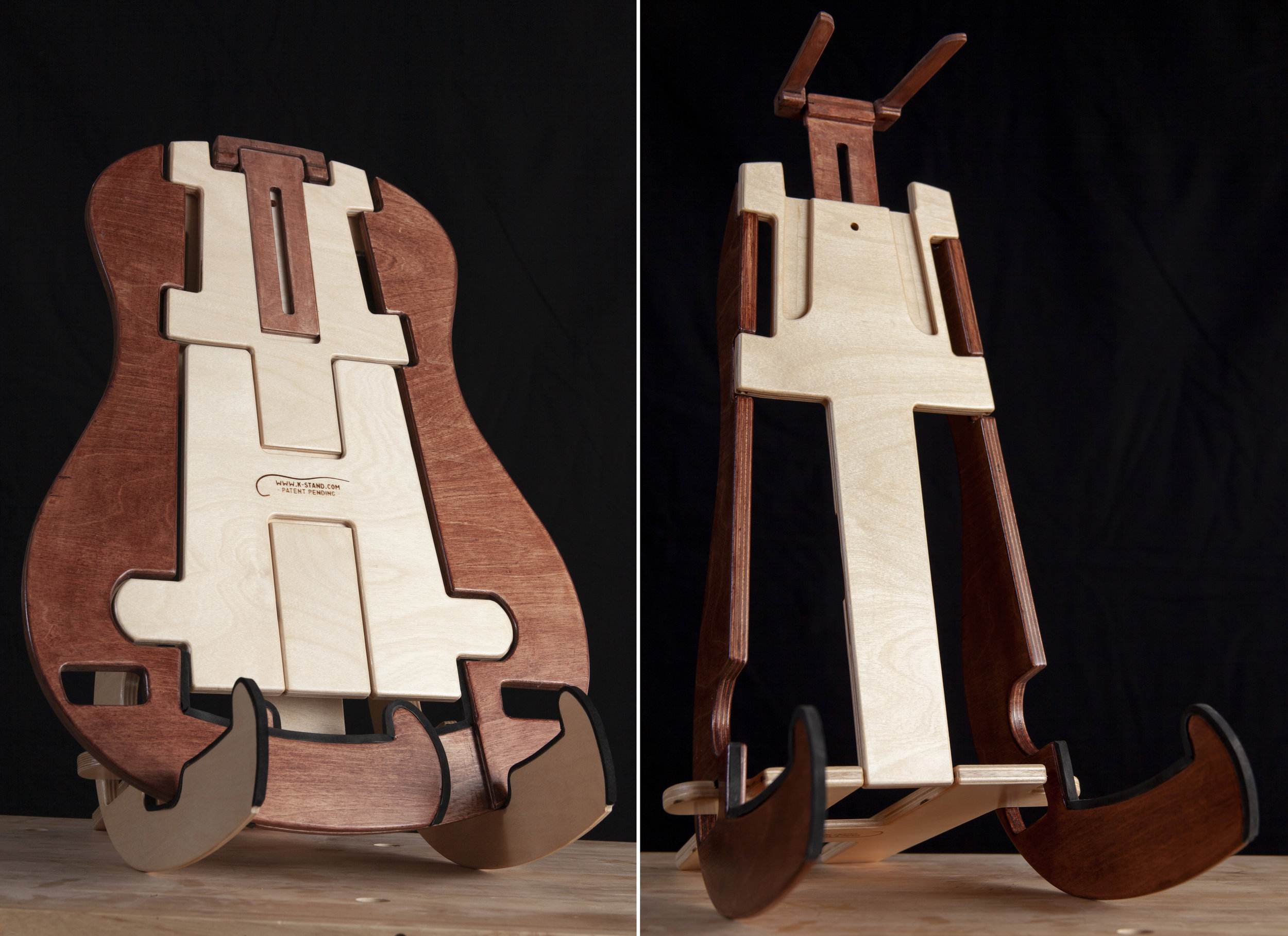K-Stand for Acoustic Guitar. When flat it is less than a 1/2 inch and unfolds to become a sturdy and attractive instrument stand. Shown on the left is the K-Stand in the flat state (back view) propped up for better viewing and on the right is K-Stand fully open. (photos courtesy of Jesse Koester)