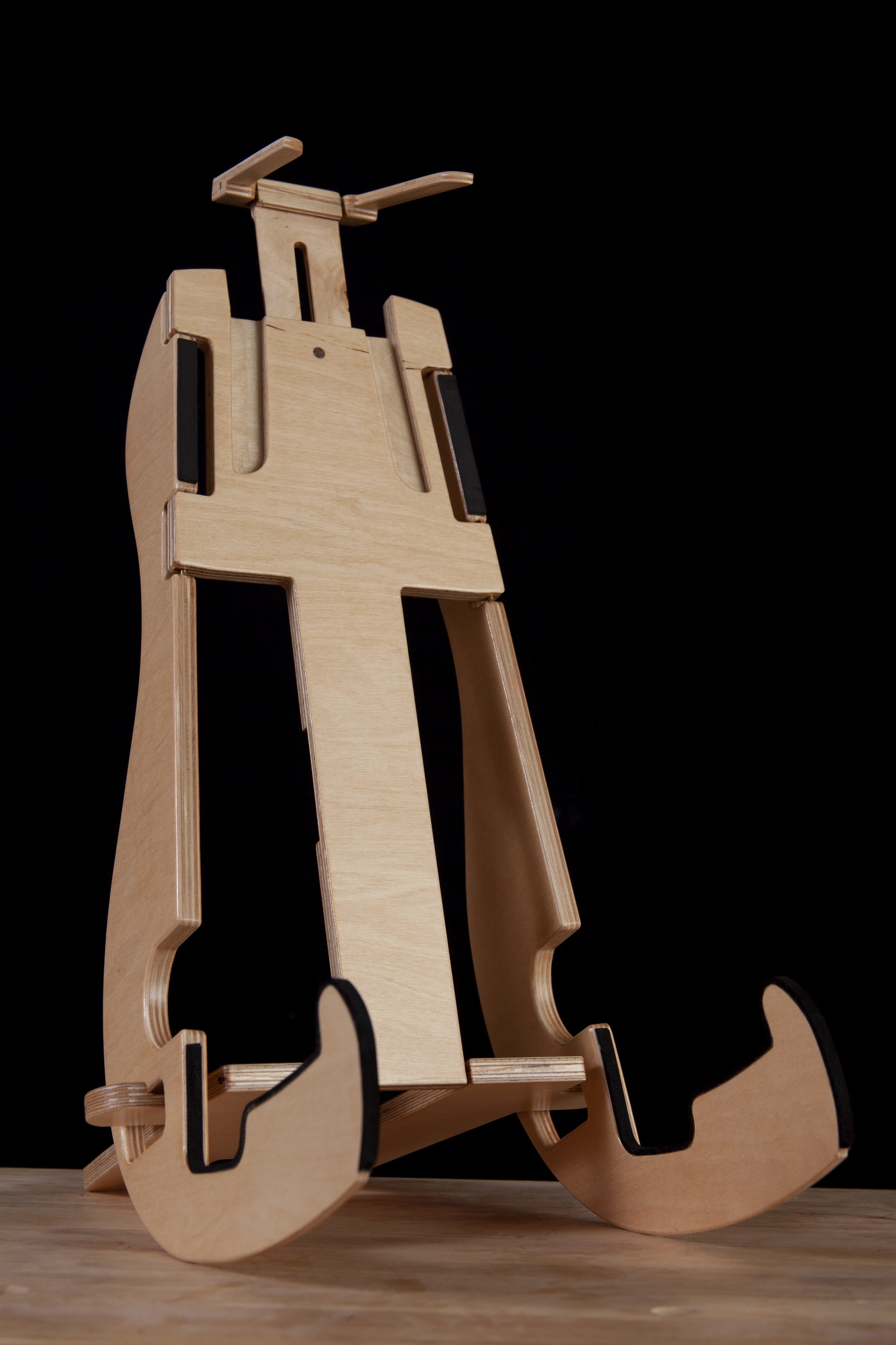 20 Inch tall K-Stand instrument stand holds full-sized Acoustic Guitar. Cutouts in lower arms allows stand to be used for Electric Guitars and Bass'.