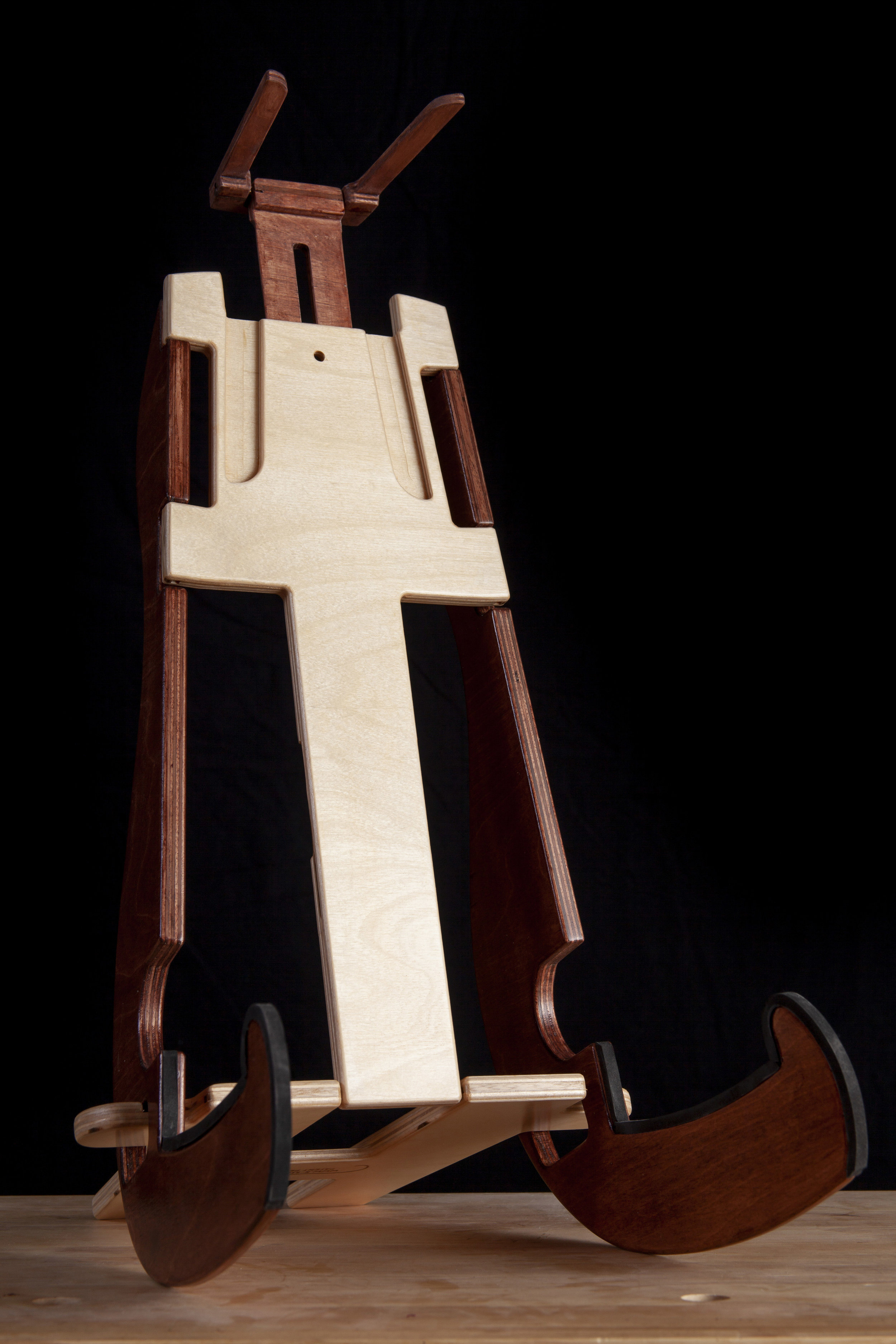 20 Inch tall K-Stand instrument stand holds full-sized Acoustic Guitar.
