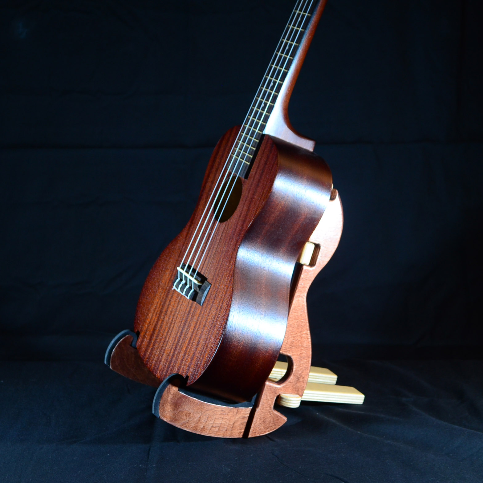 12 Inch tall K-Stand instrument stand for Tenor and Baritone Ukuleles. Also available in 10 Inch tall size for Concert and Soprano Ukuleles.