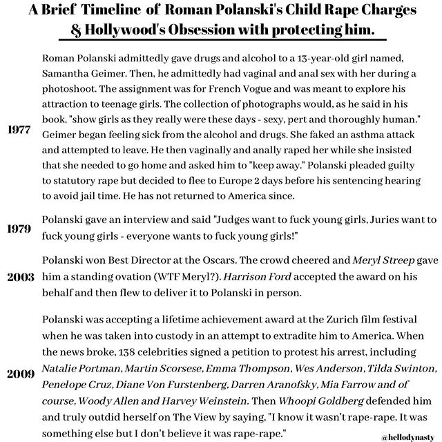 Are the effects of MeToo already starting to fade? . . . . . . . . #hollywood #romanpolanski #onceuponatimeinhollywood #sharontate #metoo #timesup #childabuse #vogue #history #rapeculture #abuse #love #womensrights #childrensrights #mansonfamily #film #movie #director #actress #filmfestival #survivor #believewomen #girls #strength #survivor #rapevictim #equality #consent #feminism #feminist
