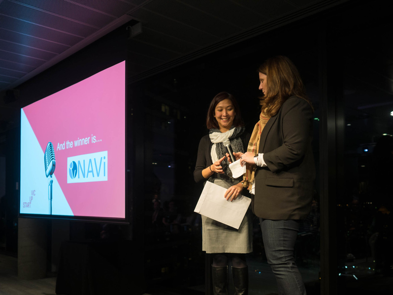 Wei Sue (CFO) representing Navi's win at Start Up Vic's Pitch Night.
