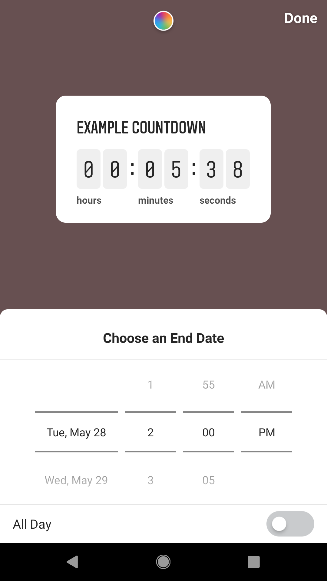 "Click on the timer to set a date and time you're counting down to. Then click ""done."""