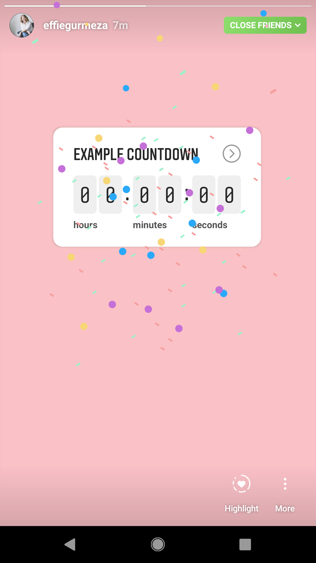 When the timer is up there will be a fun confetti blast!