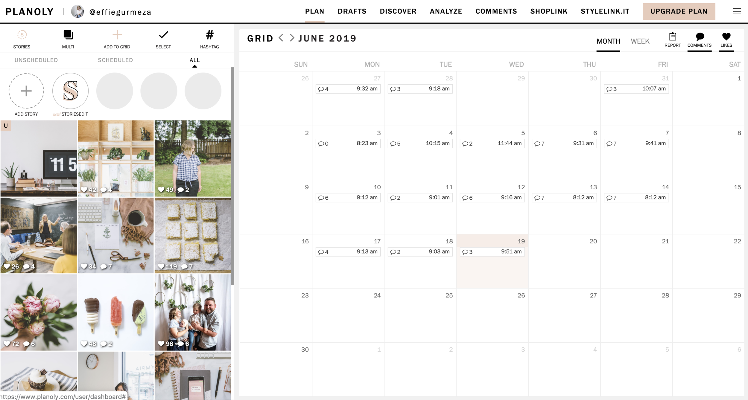 """Here you can see that the photo I've selected shows up in my grid with a """"u"""" for unscheduled. If you select multiple photos you can drag them into the order you'd to post them into. This easy dragging to rearrange is a handy feature for planning your grid to flow nicely."""